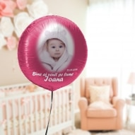 balon heliu brasov pentru botez cu poza roz folie personalizat