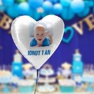 Balon heliu brasov forma de inima cu poza pentru botez