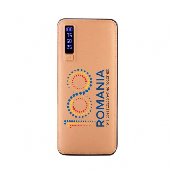 baterie externa piele personalizata logo romania 100