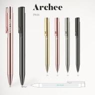 Pix personalizat Archee logo sau text Pix din aluminiu cu buton colorat, finisaj metalic, mina tip G2 , pasta albastra Dimensiunea 137 x 10 mm Pixuri personalizate Brasov Materiale promotionale Brasov