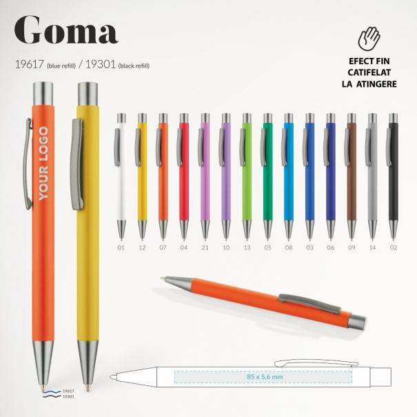 ix personalizat Goma diferite culori buton gri, suprafata fina mata la atingere cu aspect usor catifelat. dimensiunea 136 x 10 m, refil G2 albastru sau negru