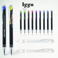 Pix personalizat Iggo cu logo sau text Pix din aluminiu cu buton colorat, finisaj metalic, mina tip G2 de 0.7 mm, pasta albastra Dimensiunea 138x10 mm Pixuri personalizate Brasov Materiale promotionale Brasov