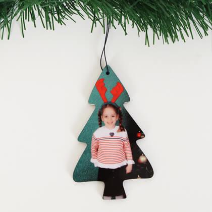 Ornament craciun brad cu poza brasov