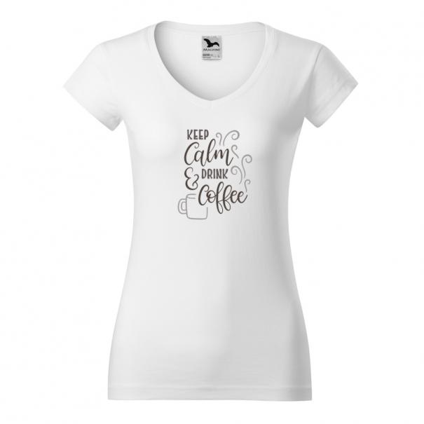 Tricouri personalizate cu mesaj keep calm & drink coffee