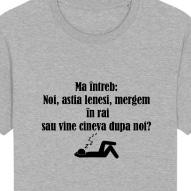 Tricouri personalizate cu mesaj ma intreb, noi astia lenesi