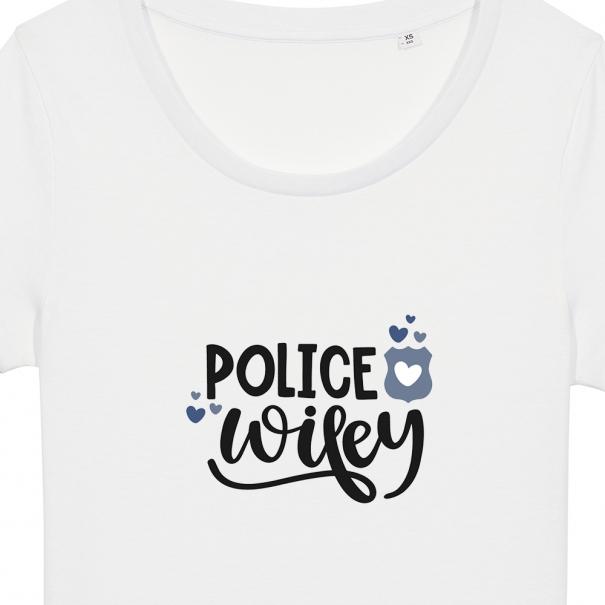 Tricouri personalizate cu mesaj police wifey