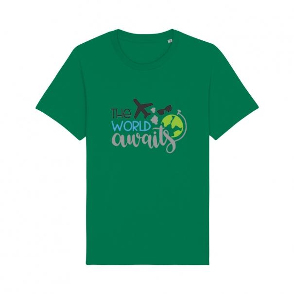 Tricouri personalizate cu mesaj the world awaits