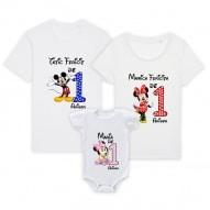 Set 3 tricouri familie adulti si bebe - familie fericita de 1 anisor cu Mickey