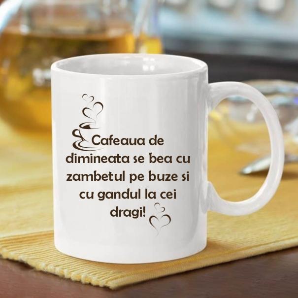 Cana personalizata cu mesaj cafeaua de dimineata