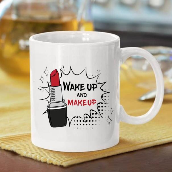 Cana personalizata cu mesaj wake up and make up