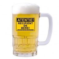 Halba personalizata cu mesaj atentie recipient de bere
