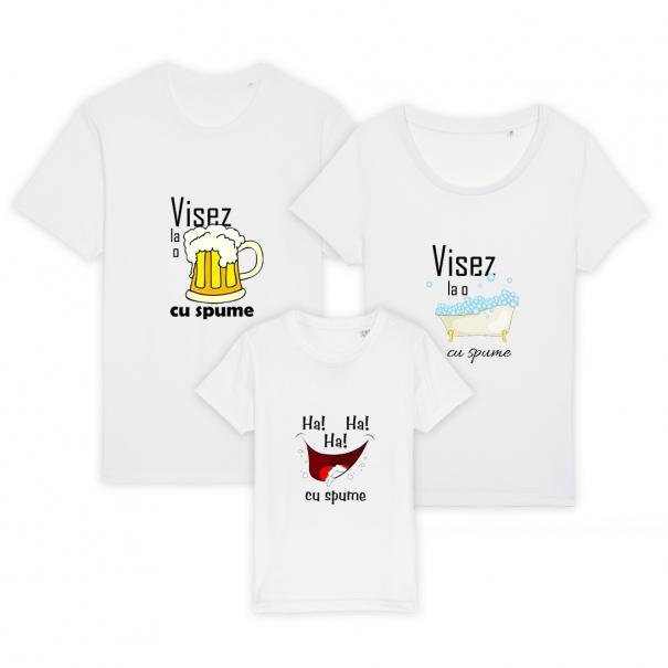 Set 3 tricouri albe familie adulti si copil cu mesaj visez la