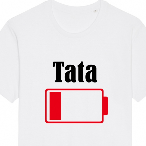 Set 3 tricouri albe familie adulti si copil cu baterie