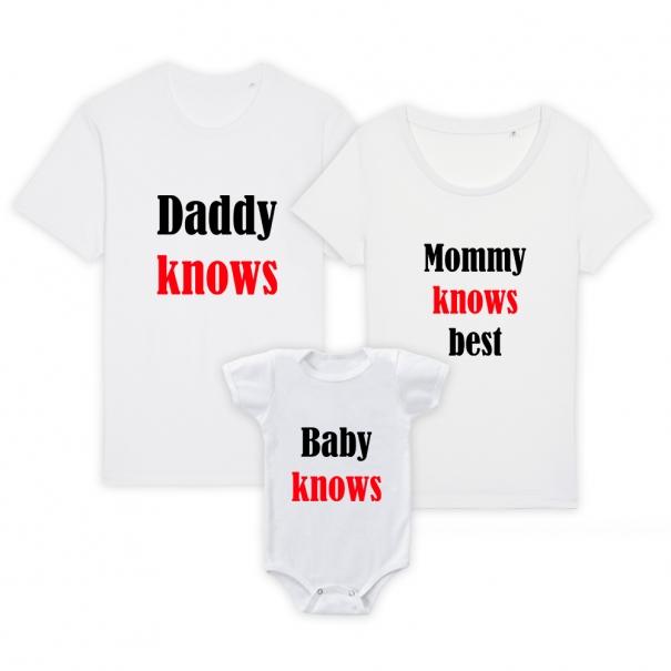 Set 3 tricouri familie adulti si bebe cu mesaj knows
