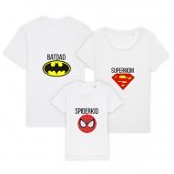 Set 3 tricouri albe familie adulti si copil cu supereroi