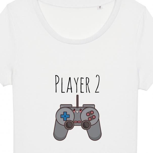 Set 3 tricouri albe familie adulti si copil cu mesaj player
