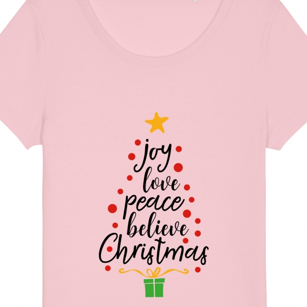 Tricouri personalizate de Craciun cu mesaj joy love