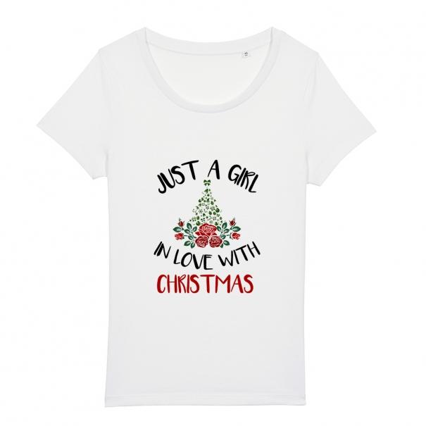 Tricouri personalizate de Craciun cu mesaj just a girl