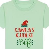 Tricouri personalizate de Craciun cu mesaj santa's cutest elf